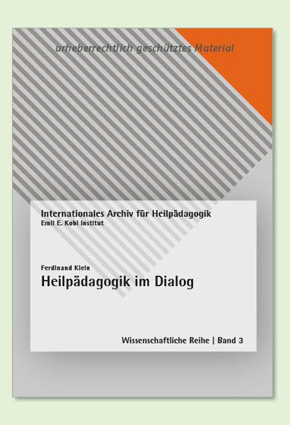 BHP Shop Publikation, Heilpädagogik im Dialog, Coverumschla, Autor Ferdinand Klein